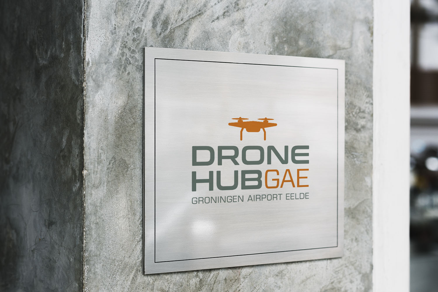 Signboard mockup on an industrial style wall